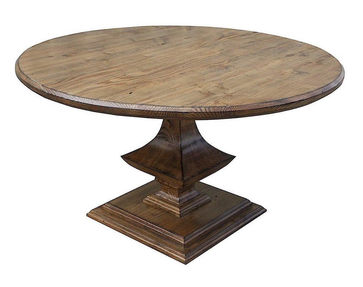 Algonquin round pedestal dining table in reclaimed wood for Round wood dining room table