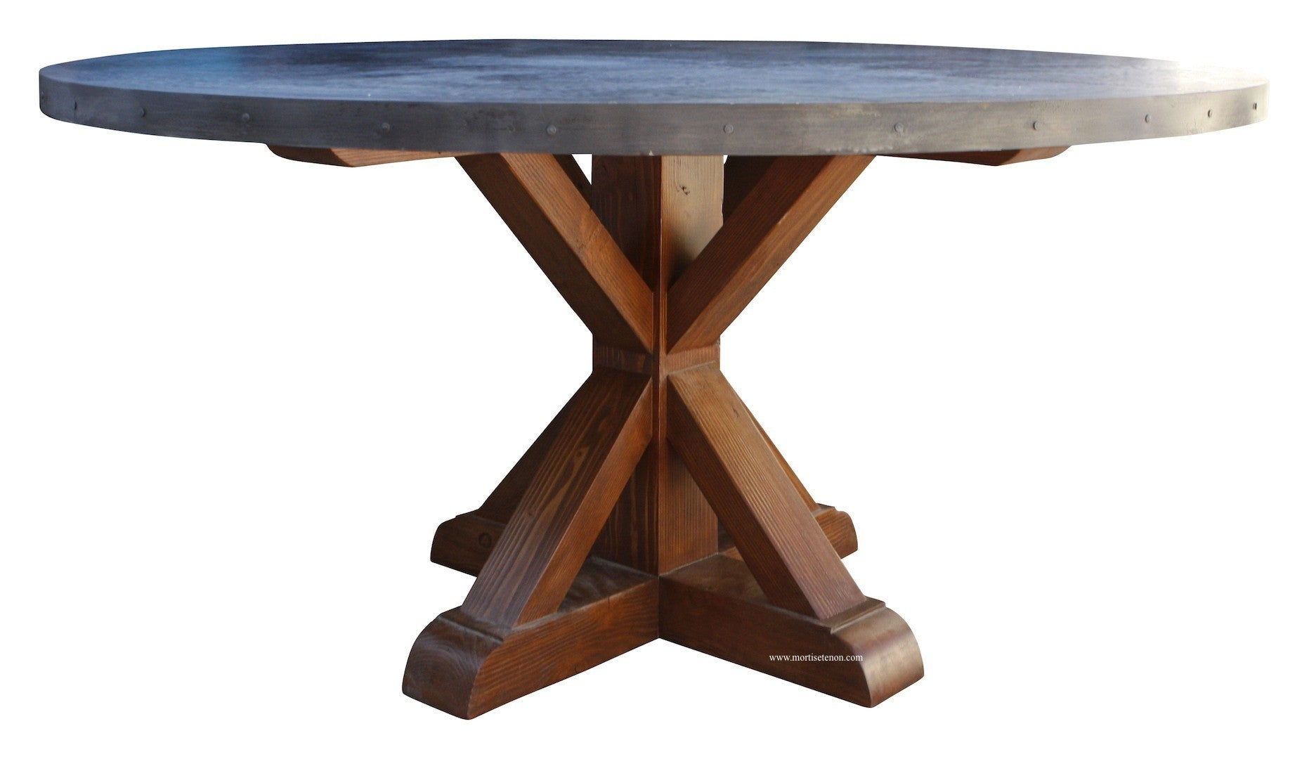 Henrik Hammered Zinc Round Dining Table Mortise Tenon