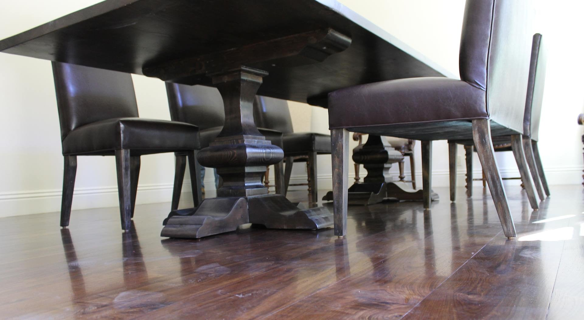 Reclaimed Wood Double Pedestal Dining Table And Leather