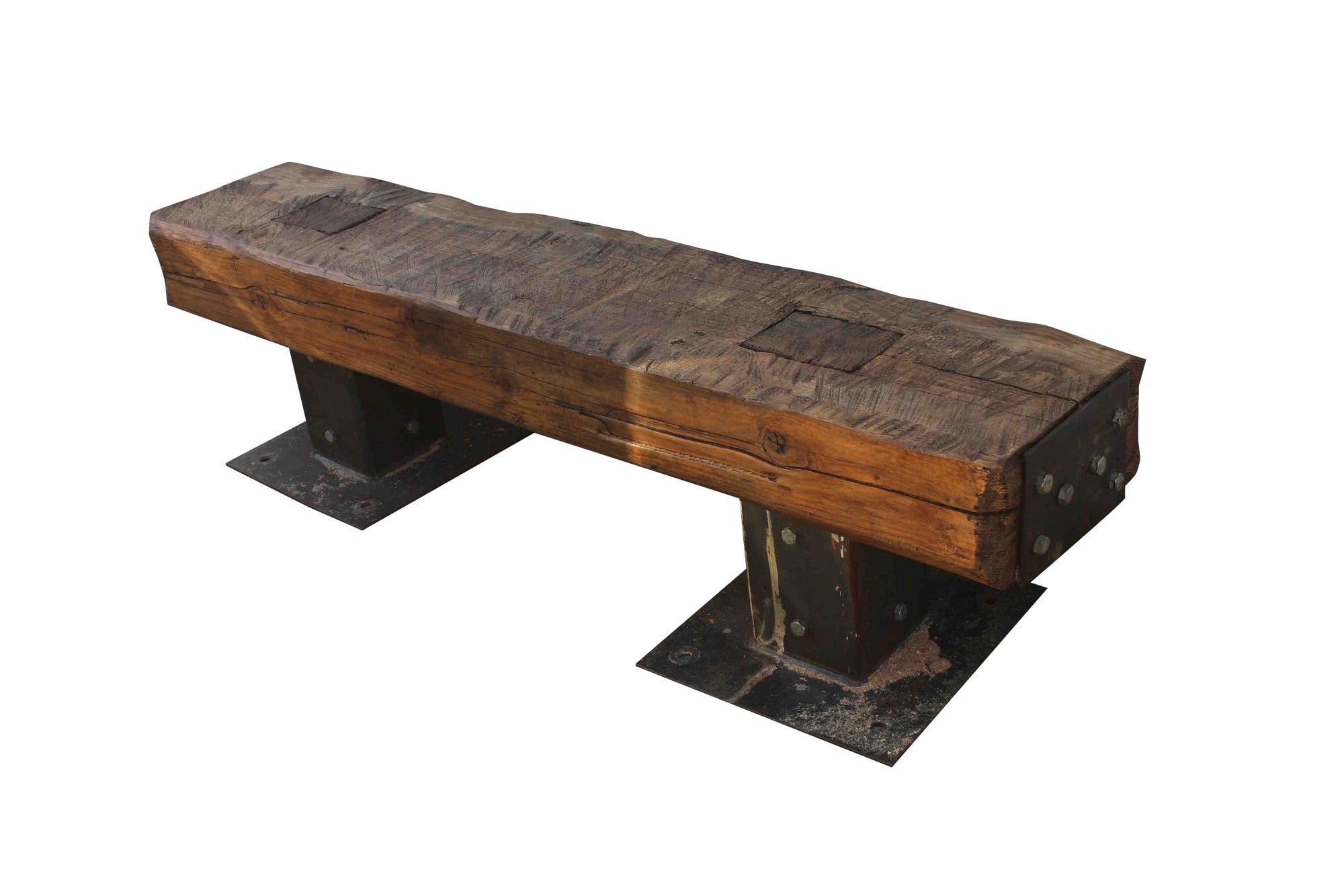 Rustic Wood Outdoor Bench. Hover To Zoom