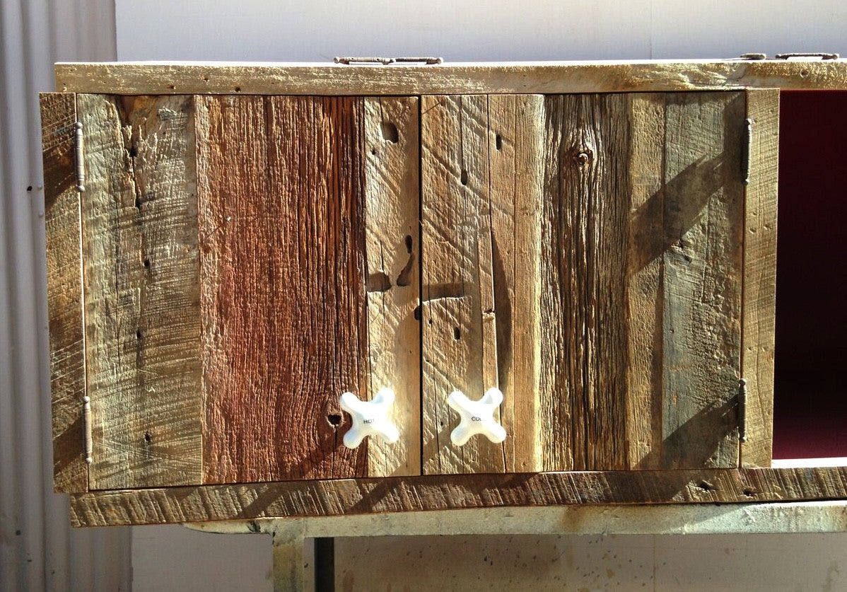 ... Custom Salvaged Barn Wood Builtin Cabinets ...