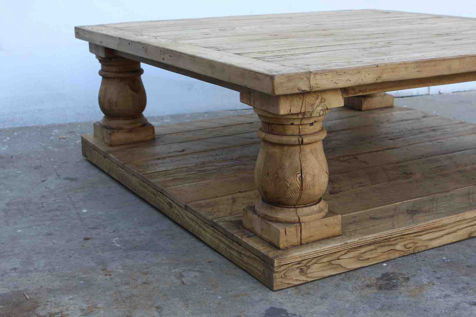 postobello large turned leg coffee table built in reclaimed wood