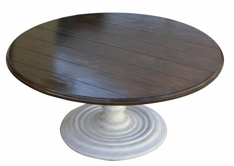 Salvaged Wood Plank Round Dining Table