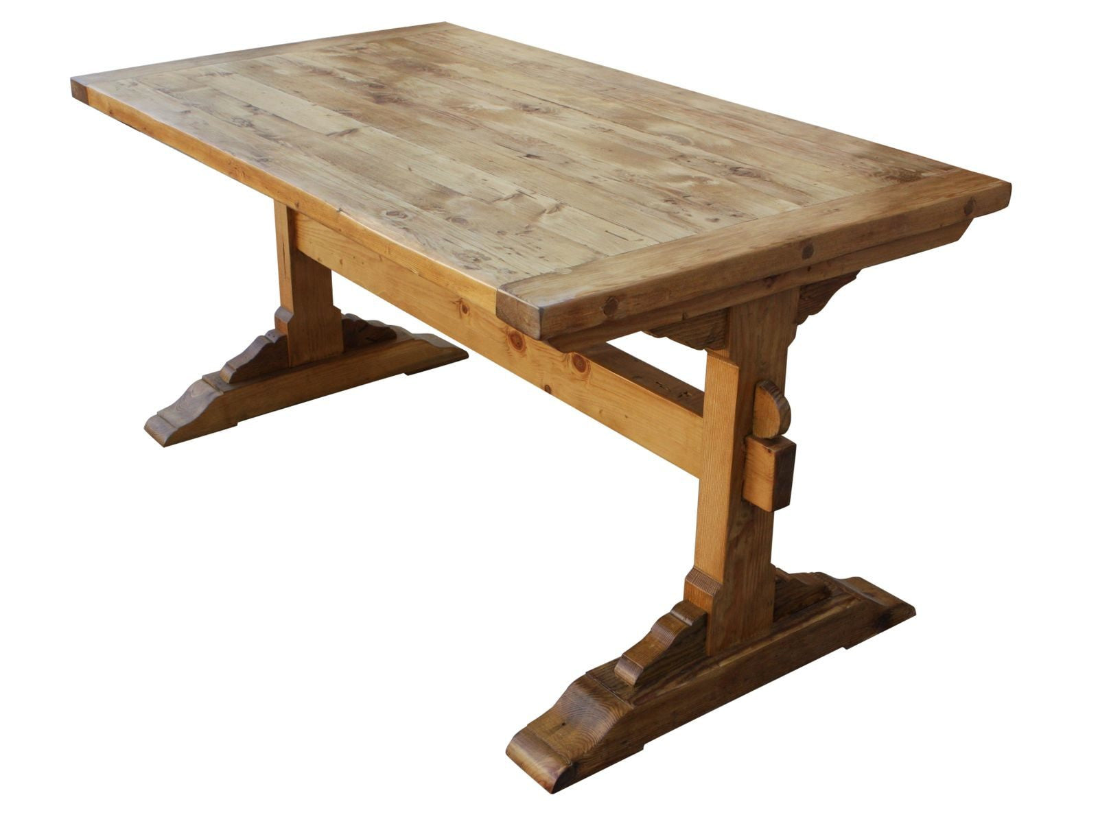 Santa Barbara Dining Trestle Table Built in Reclaimed Lumber-Chunky ...