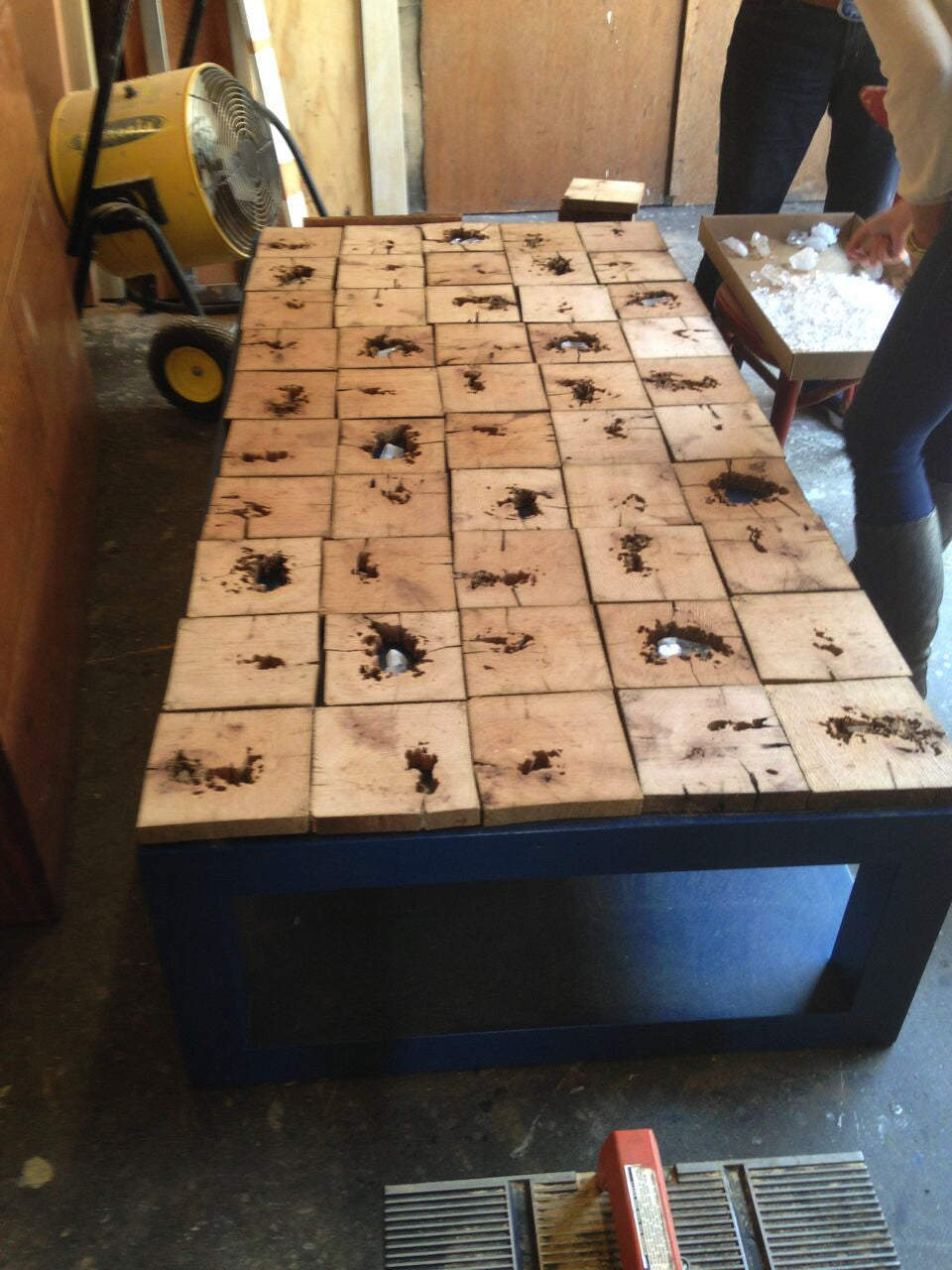 custom coffee table built from 300 year old oak salvaged from