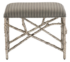 small silver leaf faux twig metal vanity bench