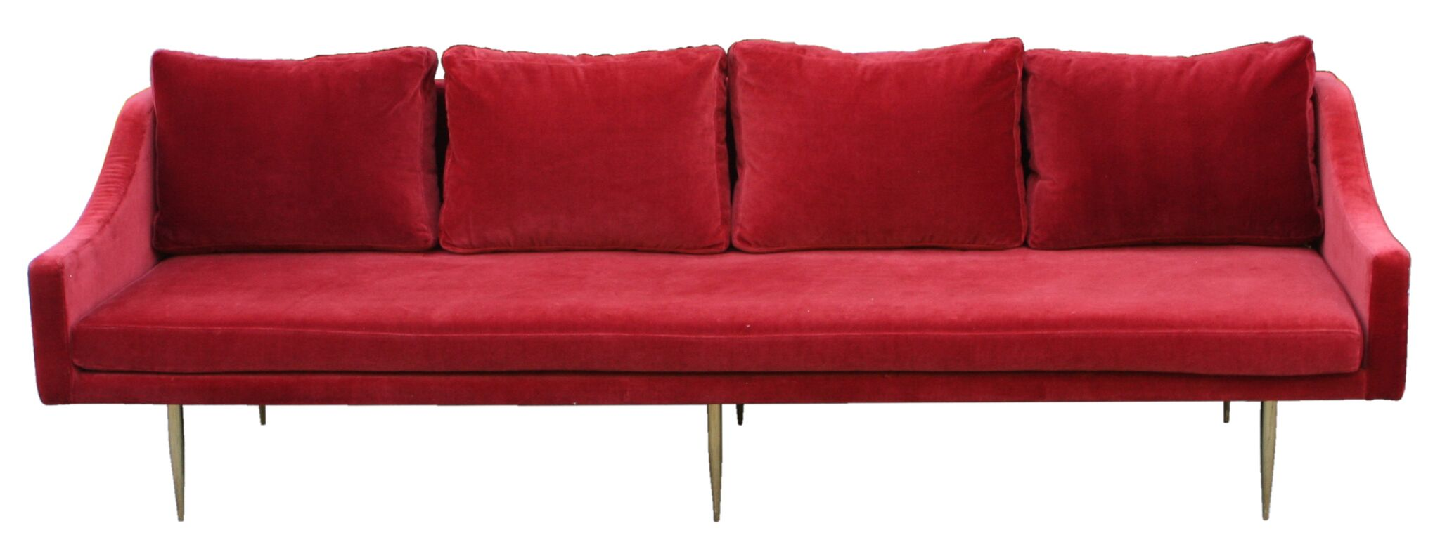 Retro Red Velvet Sofa
