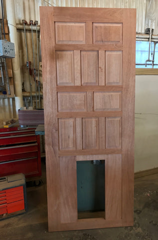 Solid Mahogany Paneled Door with Doggie Door Opening
