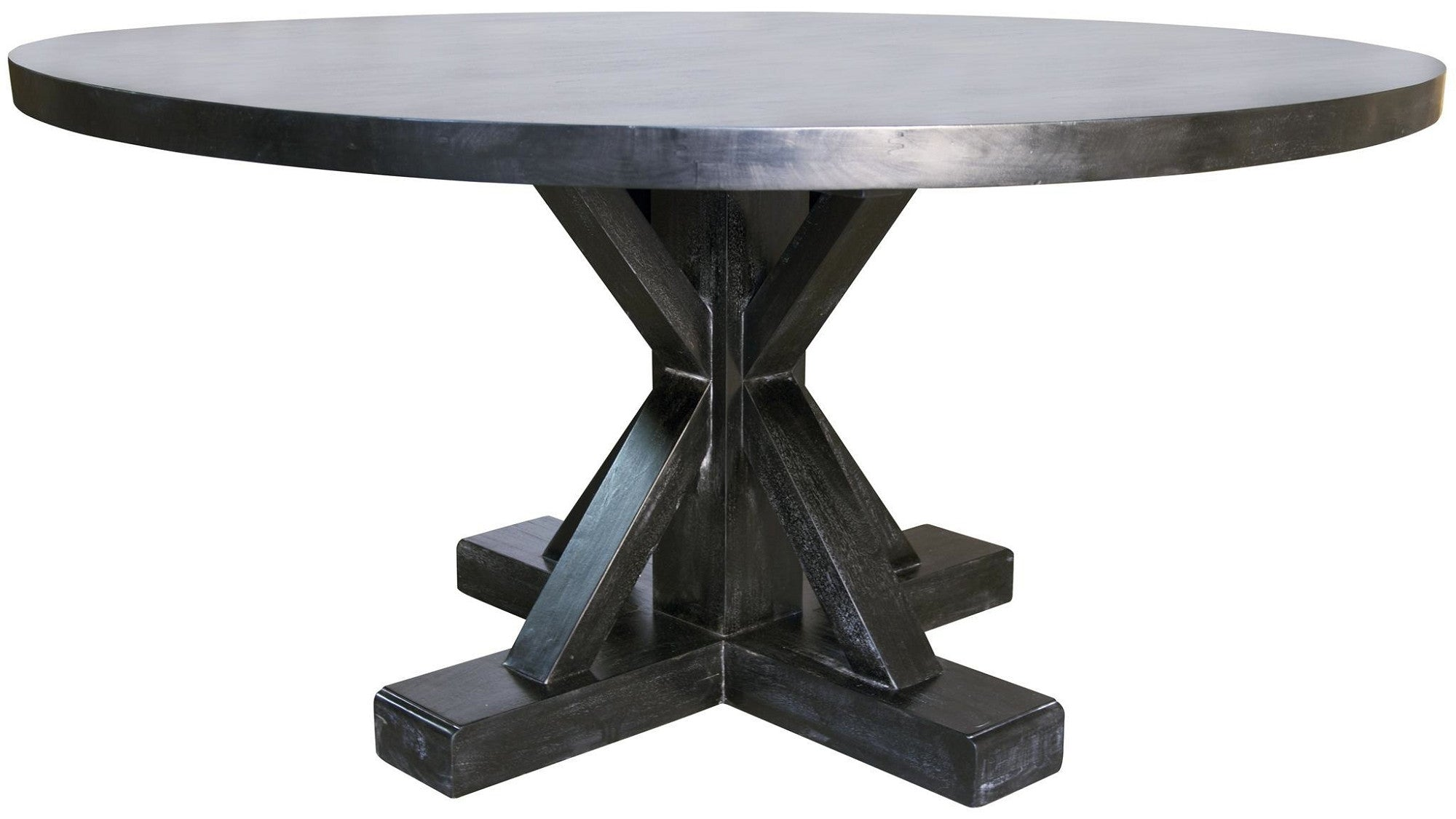 X Base Zinc Top Dining Table Mortise Amp Tenon