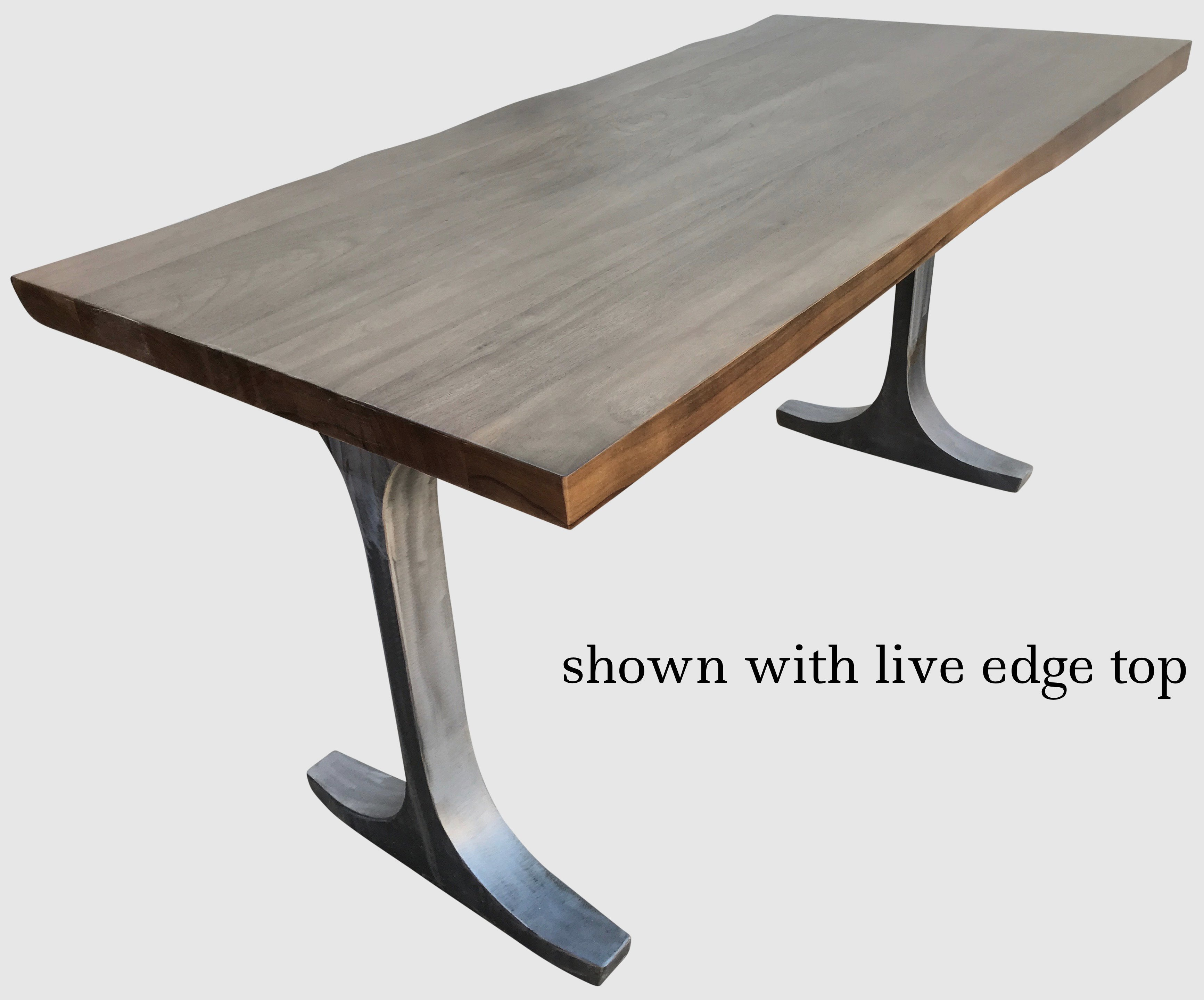 ... Live Edge Walnut Table Top With Brushed Metal Legs ...