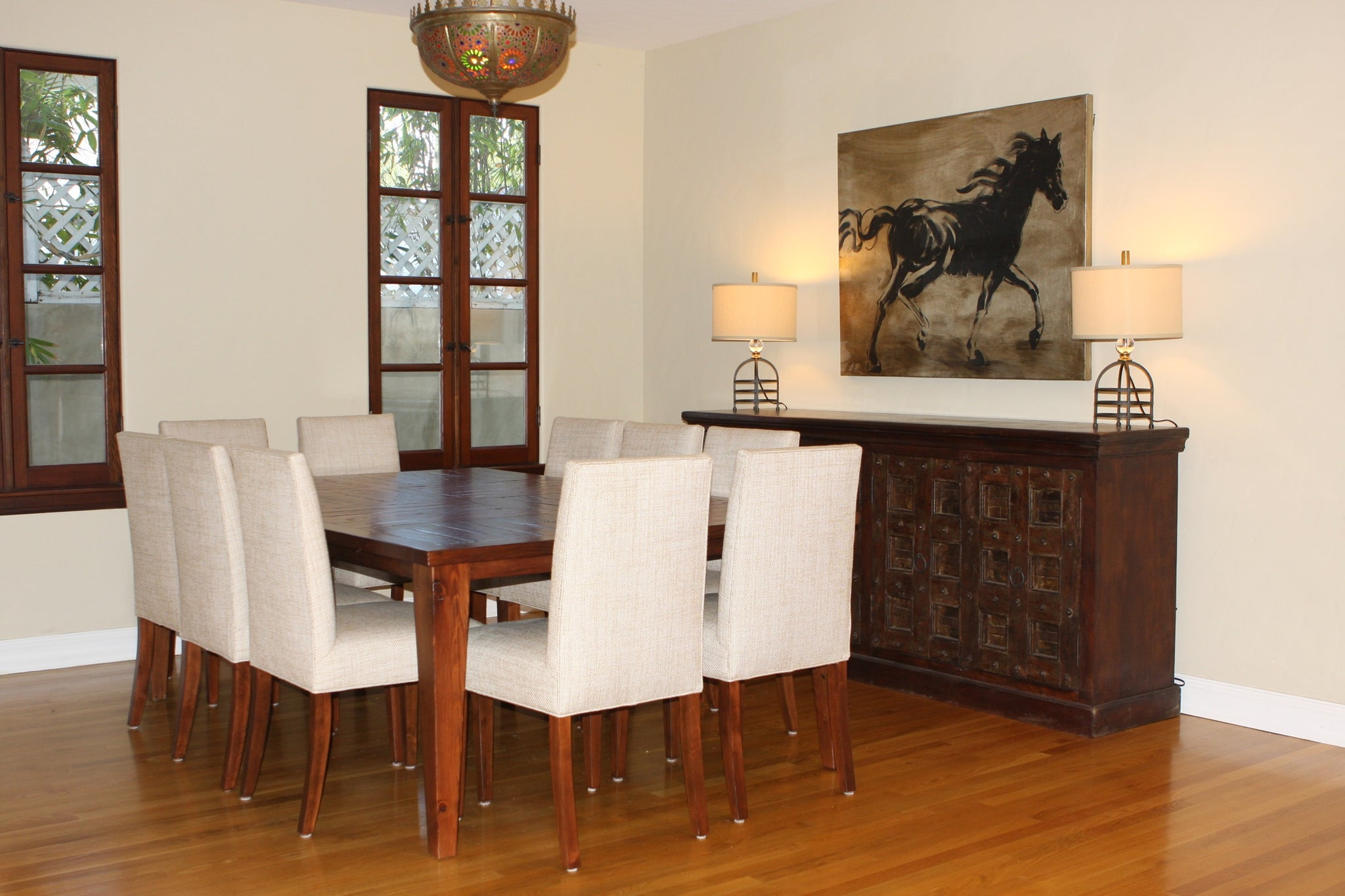 Classic Southern California Spanish Colonial Dining Room and Living Room