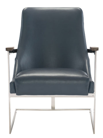 modern curved stainless steel leather accent chair