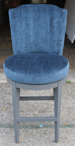 Swivel Bar Height Stools in Blue Chenille