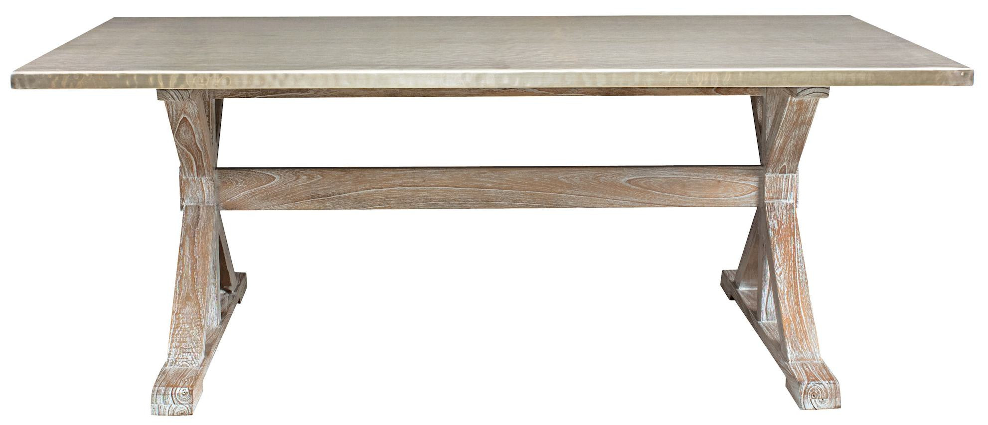 Taran Dining Table with a Hammered Metal Top – Mortise & Tenon