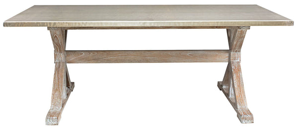 Taran Dining Table With A Hammered Metal Top Mortise Amp Tenon