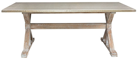 Taran Dining Table with a Hammered Metal Top