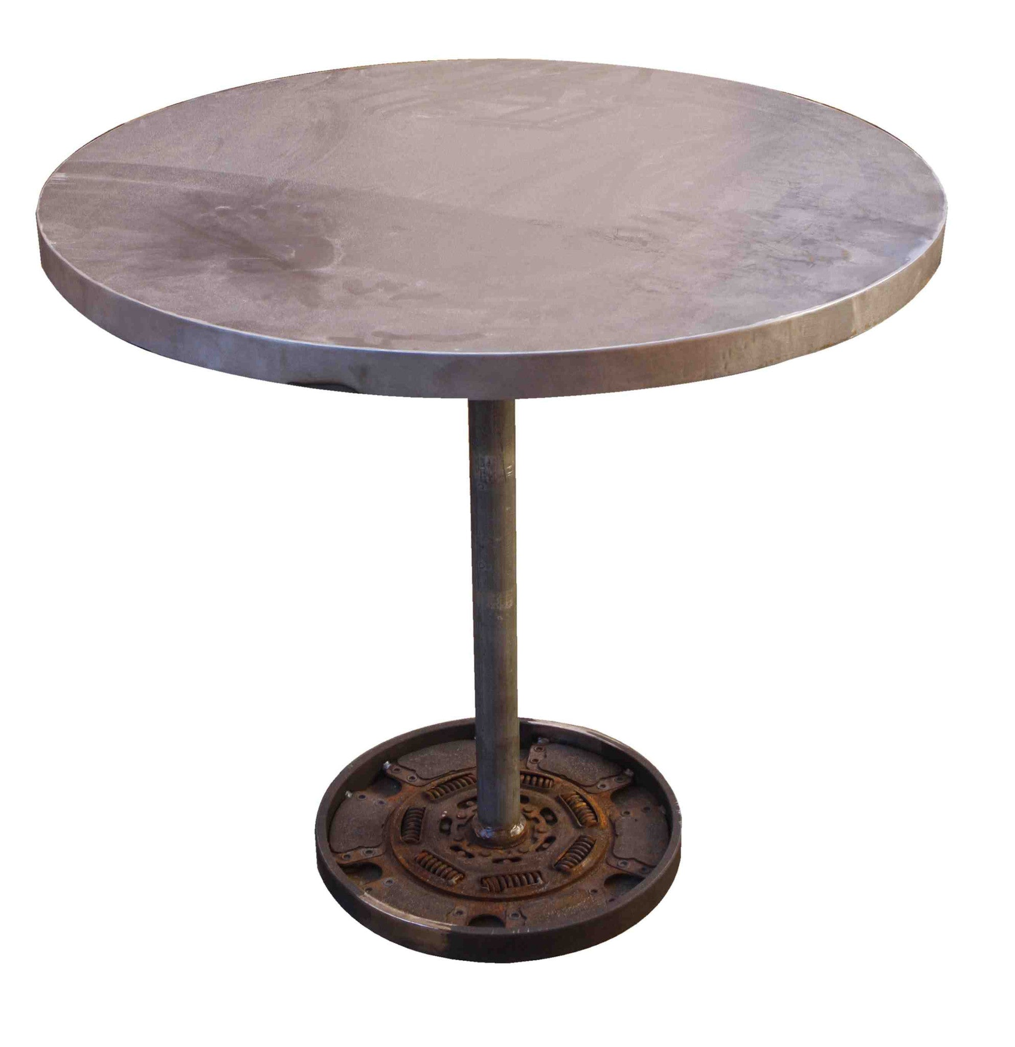 Worthington Industrial Round Metal Bistro Table Mortise Tenon