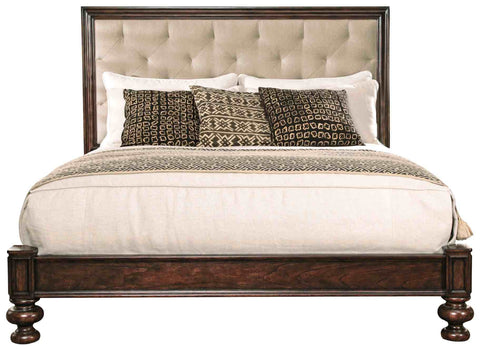 Aspen Traditional bed with bun feet and upholstered, button tufted panel headboard