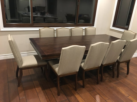 Elizabeth, Mahogany Extension Trestle Dining Table and Autumn Dining Chair Set