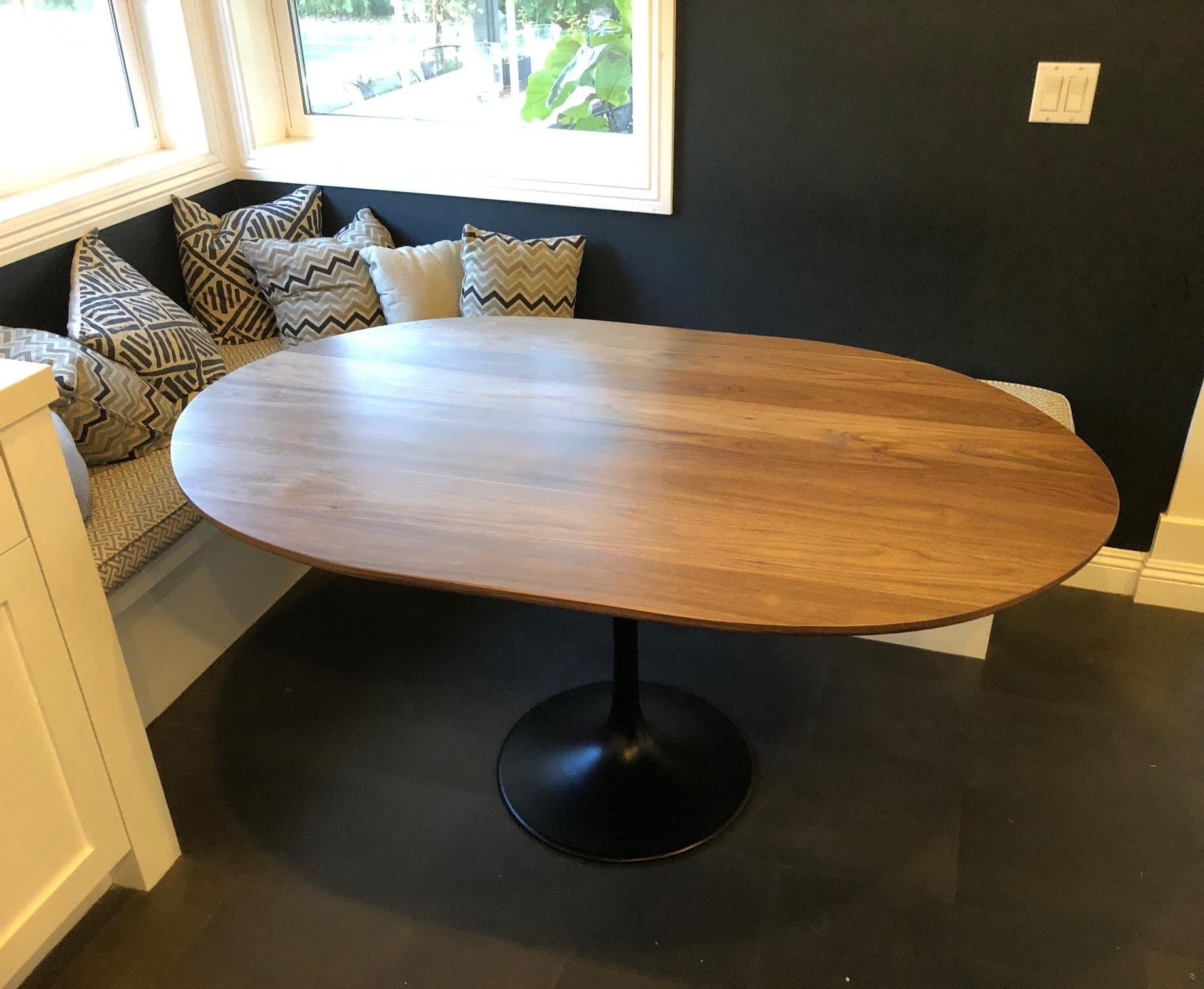 Oval Tulip Base Kitchen Dining Table With Walnut Top ...