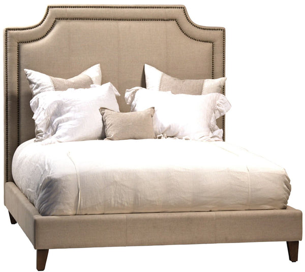 Classic Upholstered Bed With Bronze Nailhead Trim