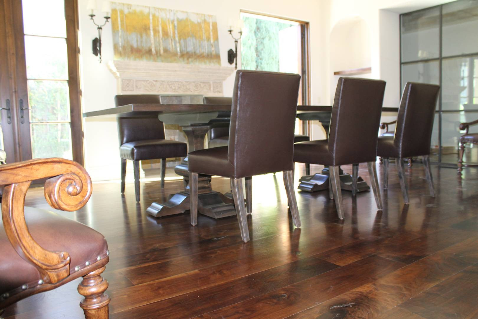 Reclaimed Wood Double Pedestal Dining Table and Leather Side Chairs