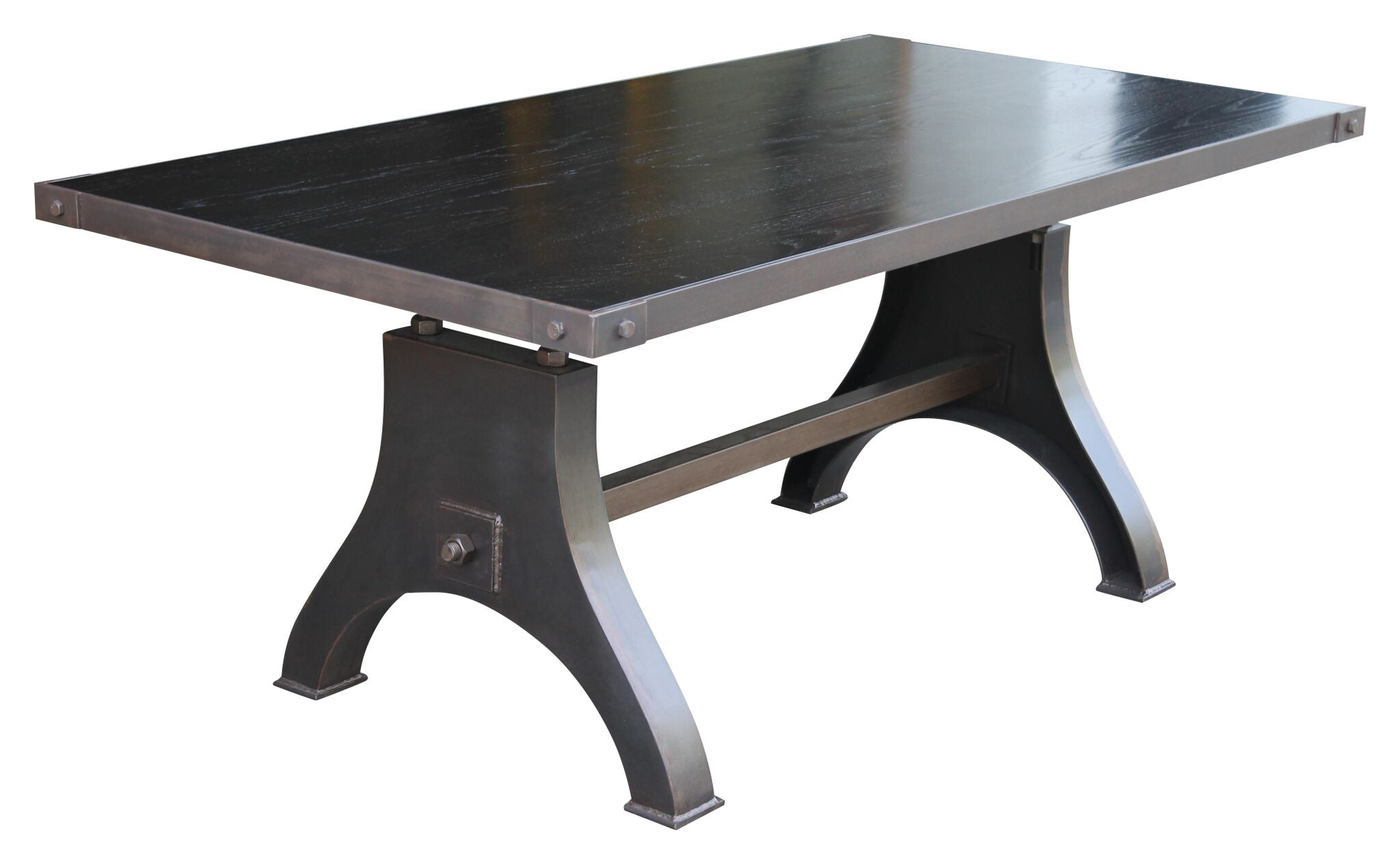 solid steel industrial dining table