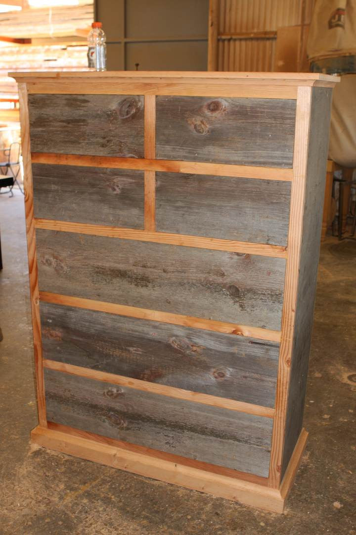 six drawer rr root barnwood weathered rural dresser rustic pine config