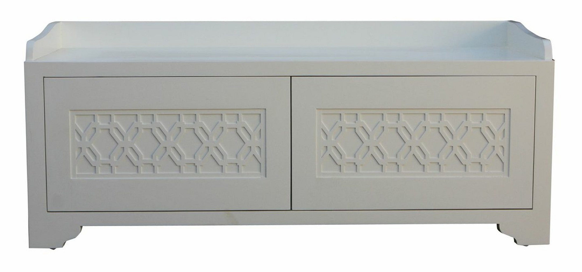 Custom Bedroom Storage Bench with Geometric Lattice Tracery
