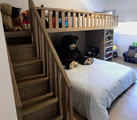 Fun Custom Designed bunk Bed Built in White Oak