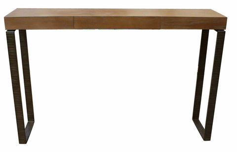 Hammered Metal and White Oak Console