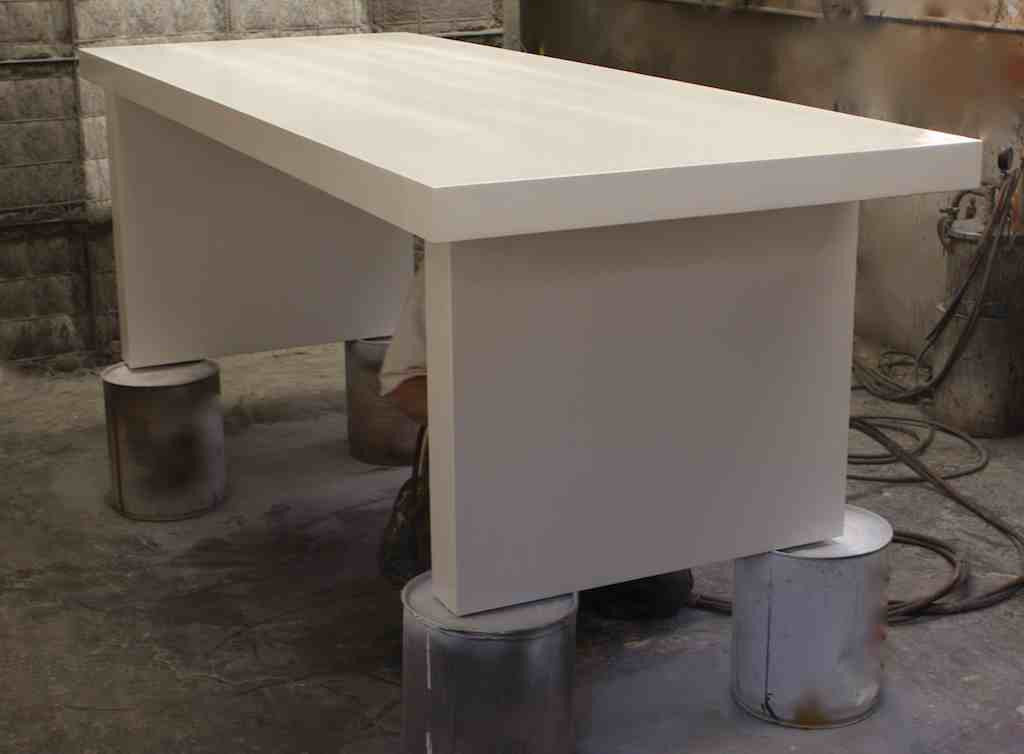 White Lacquer Mid Century Modern Dining Table Mortise Tenon