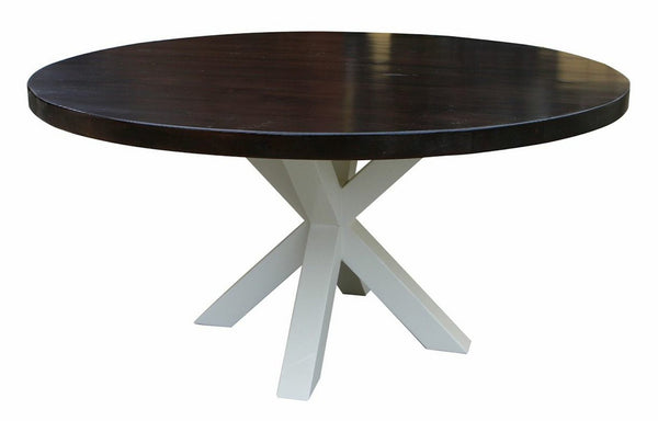 Arden round dining table built in reclaimed wood mortise for Non wood dining table