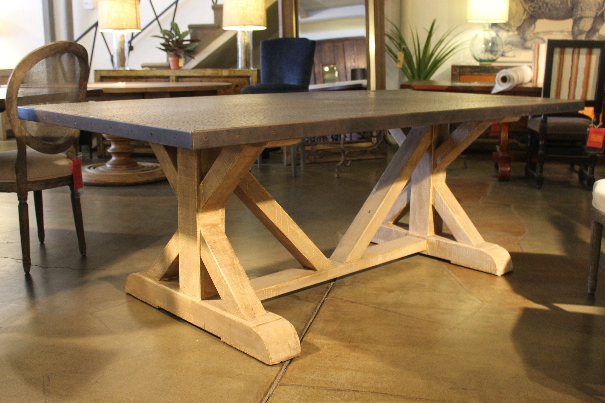 Battery Park Zinc Top Dining Table – Mortise & Tenon