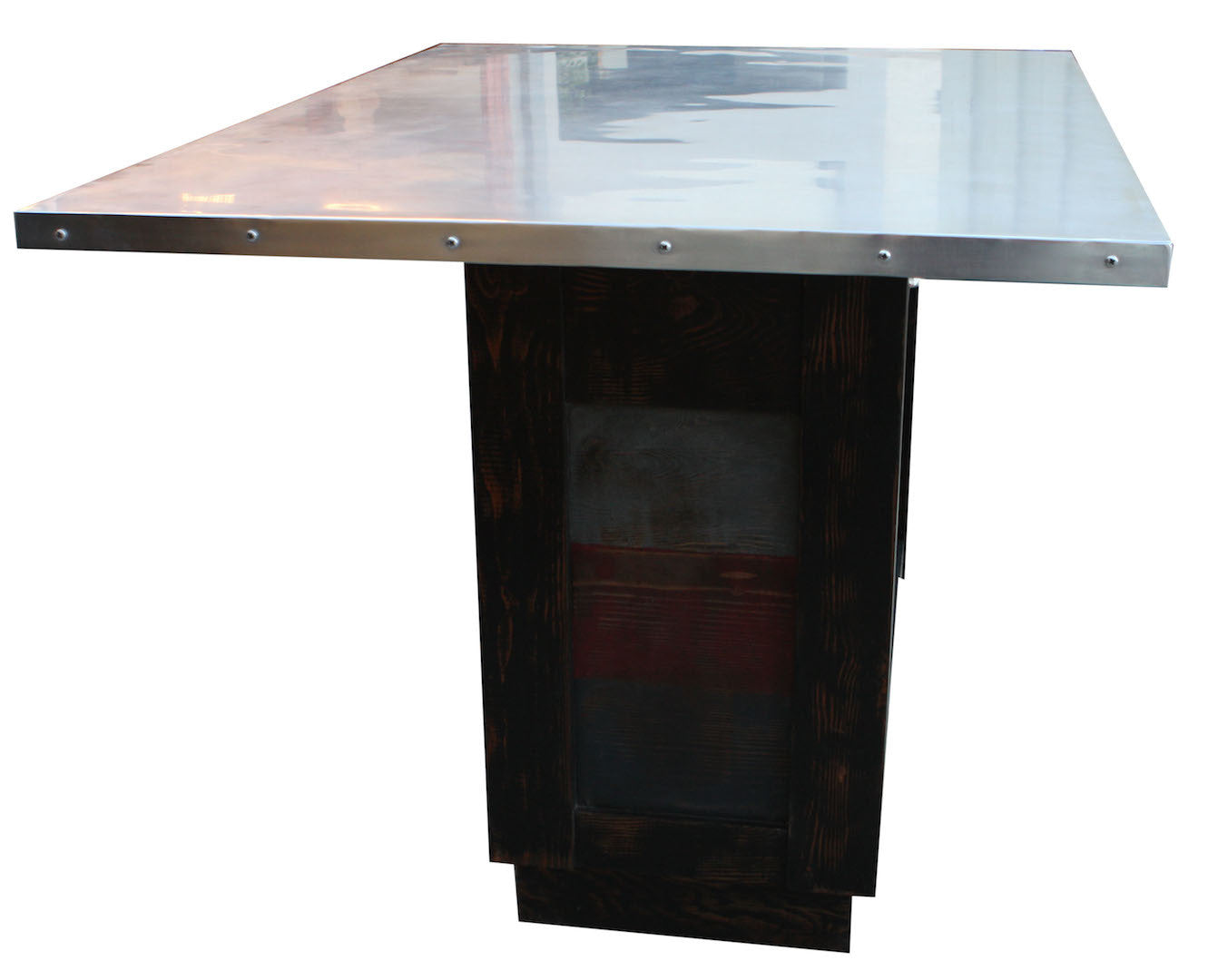 Custom Zinc Top Reclaimed Wood Kitchen Island – Mortise & Tenon