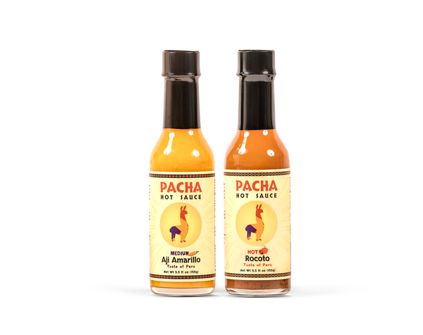 Pacha Hot Sauce - Aji Amarillo and Rocoto 5 Oz. Bottles (Combo Pack of 2)