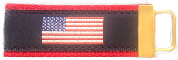 American Flag Fob on Fire Engine Red