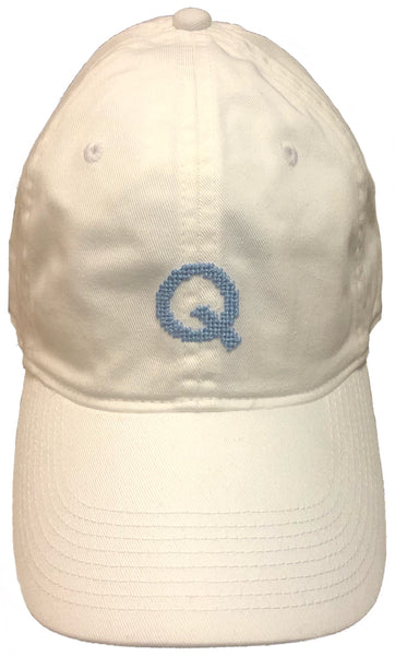 Signature Q Needle Point Hat (Crisp White & Ocean Blue)