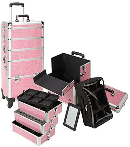 4 in 1 Rolling Professional Makeup Case w  4 360 Spinning Wheels ca8e2cacbdbc