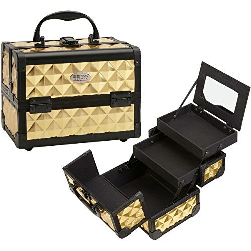 Compact Mini Makeup Train Case with Mirror