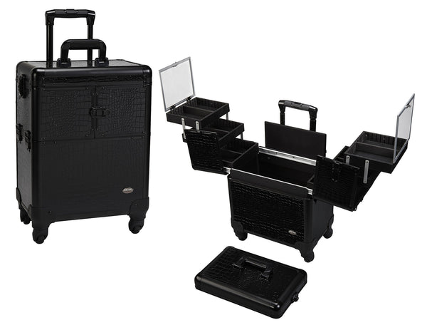 4 Wheel Spinner Rolling Makeup Case with 5 Trays
