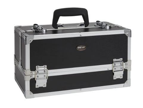 Compact Makeup Train Case with Dual Tray Removable & Adjustable Dividers