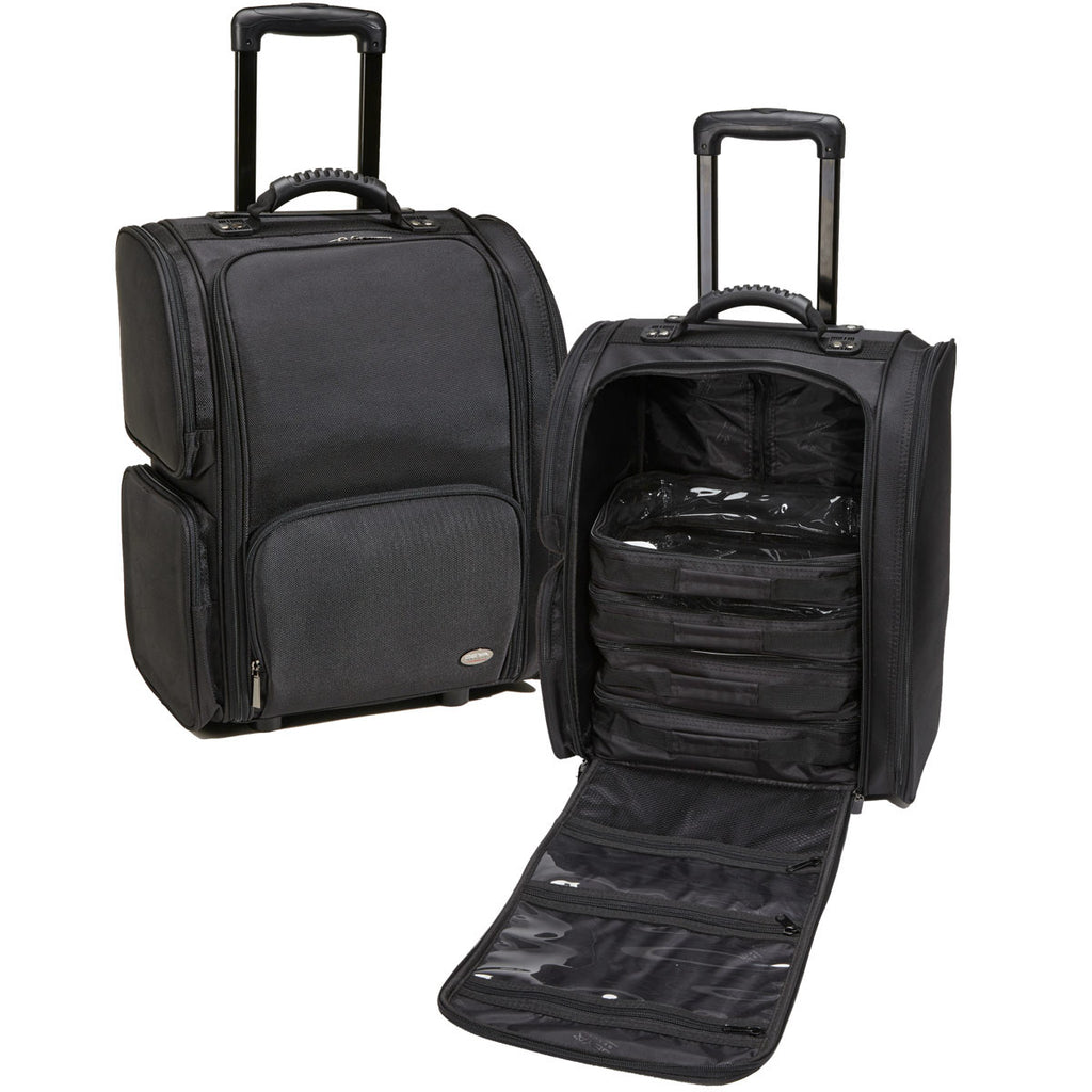 Professional Soft Sided Rolling Makeup Case w/ Pouches - Black