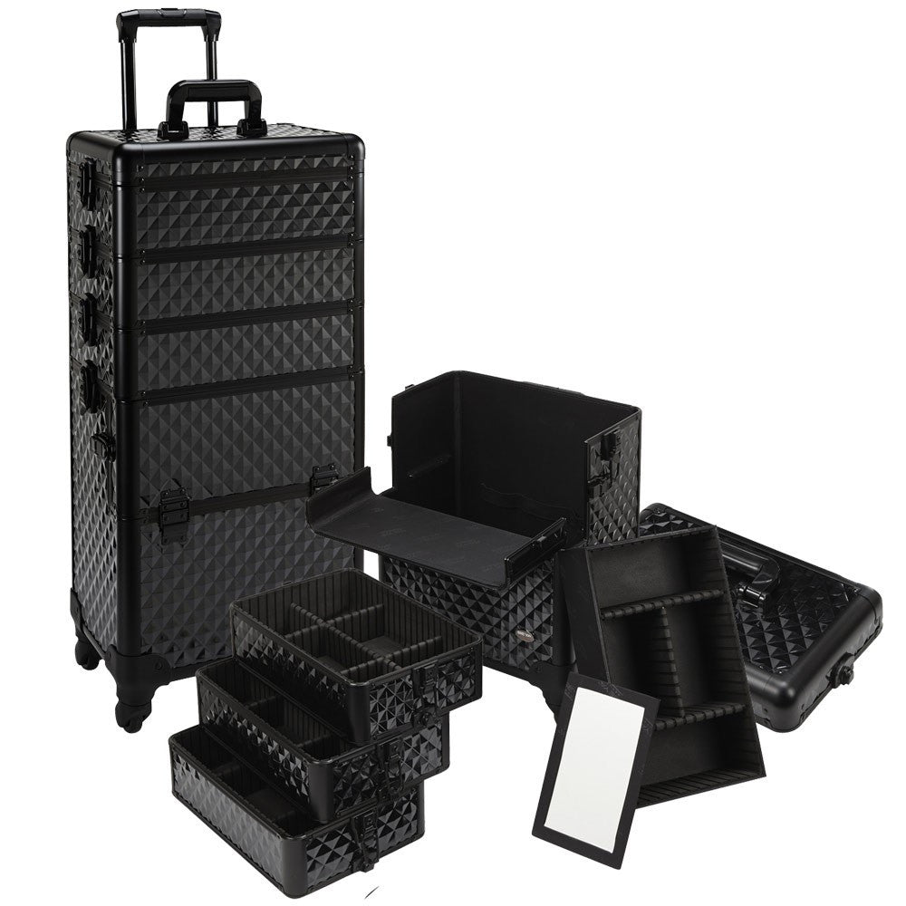 4 in 1 Rolling Professional Makeup Case w/ 4 360 Spinning ...