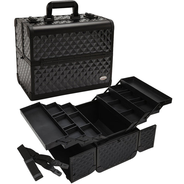 Professional Makeup Train Case W/ 3 Tier Dividing Tray