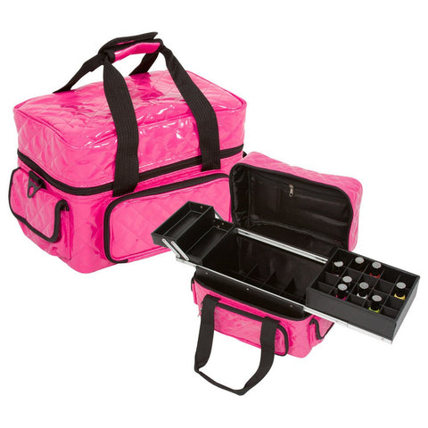 Soft Sided Nail Makeup Artist Polish Storage Case w/ Removable Trays