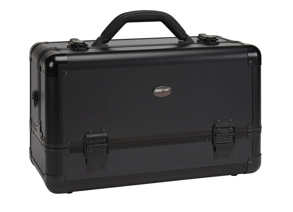 Pro Aluminum Makeup Train Case w/ Brush Holder