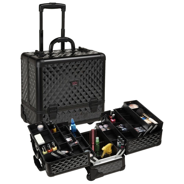Professional Rolling Cosmetic Case w/ 8 Trays