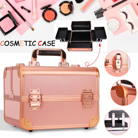 Women Professional Aluminum Makeup Case Portable Travel Jewelry Train Case Cosmetic Organizer Case Box With Lock Beauty Case