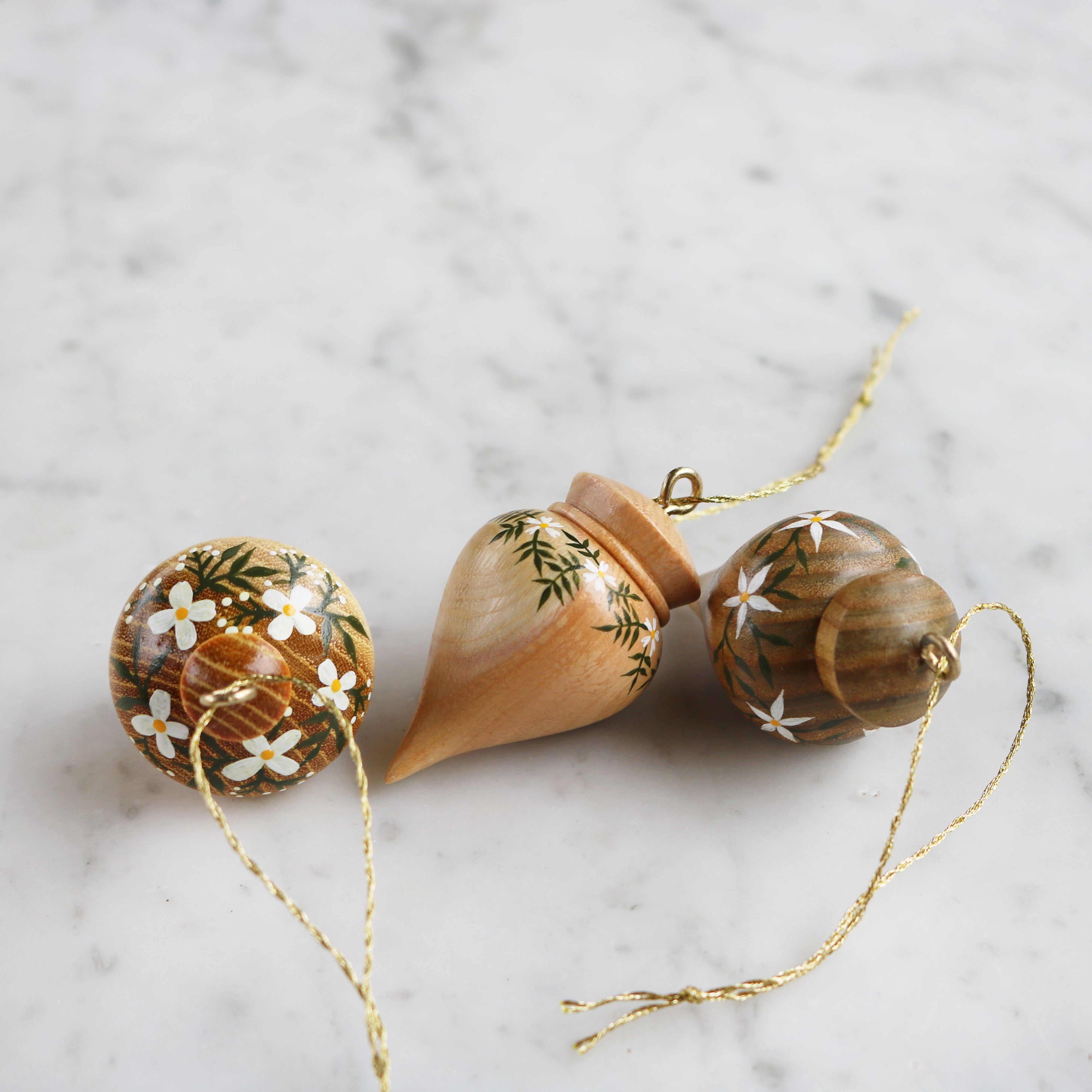 Set of 3 Mini Wooden Ornaments | Set No. 7